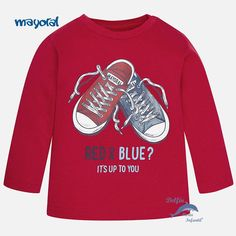 Camiseta de bebe niño MAYORAL manga larga zapatillas color guinda