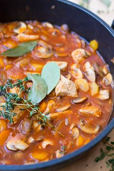 Kalkoenstoofpotje met champignons en wortel