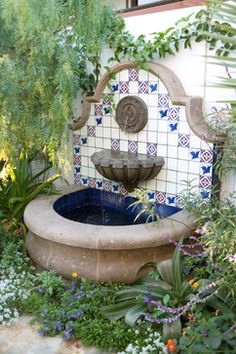Love the colors This custom made tile fountain reflects the