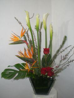 florero en vase vidrio aves y rosas 500