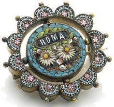 Roma Floral Micro mosaic pin