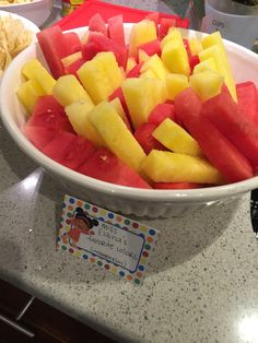 Our Daniel Tiger party: pink and yellow watermelon to match Miss Elaina's dress. I was going to use cantaloupe until I found the yellow watermelon at the farmer's market.