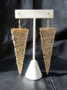 Wire crochet earrings gold tone geometric by LogicFreeDesign, $50.00