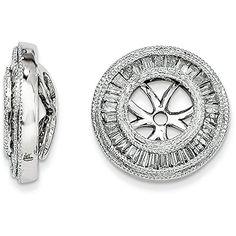 14k Gold Baguette Diamond Removable Round Milgrain Jackets for Stud Earrings - (0.50 ctw White-Gold)...