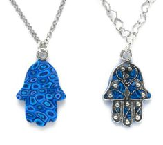 Protective Hamsa Necklace in Sterling Silver with Fleur de Lis Silver Overlay - Blue Color Adina Plastelina Handmade Jewelry. $74.99. Arrives in a joyful yet elegant gift box. A 16.5 inches, 42cm, chain is included. Please note, chain type may vary from that on the picture. Incredible handmade silver hamsa pendant, accented by a colorful patten while overlaid with a silver motif, beautifully suspends from a sterling silver chain. Click on Adina Plastelina Handmade Jewelry...