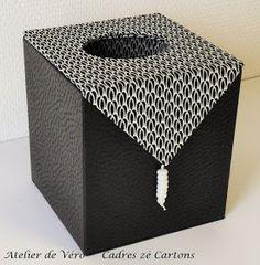 Voici une variété de boites à mouchoirs. C'est un cadeau que je fais volontiers: soit ce modèle carré avec du papier japonai... Tissue Box Covers, Tissue Boxes, Box Art, Art Boxes, Covered Boxes, Box Packaging, Diy Christmas Gifts, Book Binding, Book Journal