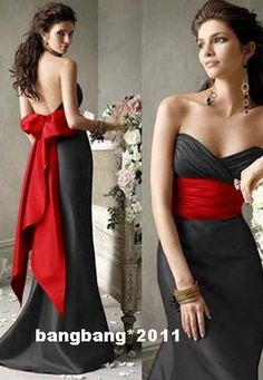 Black and Red Bridesmaid Dress Formal Evening Gown Mermaid Size 6 8 10 12 14 16 | eBay