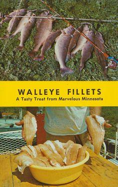 """Walleye Fillets """"A Tasty Treat from Marvelous Minnesota"""" Postcard"""