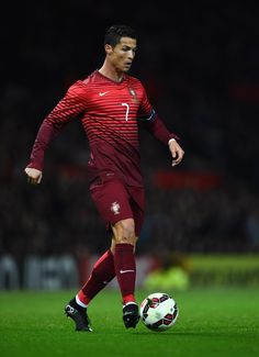 Cristiano Ronaldo of Portugal in action during the International Friendly match between Argentina and Portugal at Old Trafford on November 18, 2014 in Manchester, England.