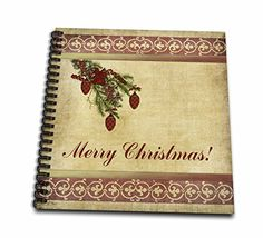 Beverly Turner Christmas Design - Christmas Tree Decorated Branch With Red Ornaments, Flowers, and Ribbons, Merry Christmas - Memory Book 12 x 12 inch (db_157960_2) -- Check out this great product.
