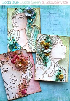 Bloom Girl Cards by Cari Fennell using watercolor pencils and Art Ingredients-Summer, Emily and Sirena Prima Doll Stamps, Paper Art, Paper Crafts, Colored Pencil Techniques, Fru Fru, Art Journal Pages, Art Journaling, Atc Cards, Scrapbooking