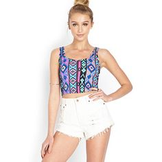 Summer 2014- If you're going for tribal prints crop it and pair it with white cut offs. Cute and sexy!