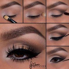 Brown Eyeshadow + Lower Lash Line Eyeliner | Step by Step Pictorial