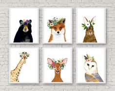This animal art prints collection features a set of 6 prints from my flower crowned animals wall art. The collection includes portraits of an hedgehog, deer, fox, raccoon, bear, and rabbit. If, however, youd like to swap any of them for a different piece in my shop, please give me a notice about which animals you want to swap it. Materials: Printed on beautiful high quality, archival and acid free velvet fine art paper using professional Epson Ultra Chrome inks. Prints will be signed and…