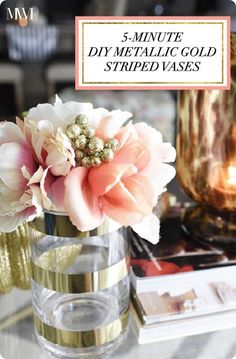 DIY Home Decor ~ Make Kate Spade Inspired Metallic Gold Striped Vases in 5 Minutes! home decor gold Handmade Home Decor, Unique Home Decor, Cheap Home Decor, Kate Spade, Home Decor Accessories, Decorative Accessories, Decorative Vases, Decor Crafts, Easy Crafts