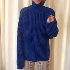 Aqua Blue ACNE knitted sweater oversized Love this blue ACNE sweater, in great condition and super comfy. 70% acrylic, 30%wool. Acne Sweaters