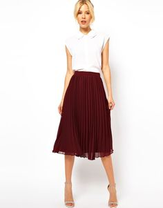"Midi Skirt with Pleats in ""Oxblood"" / ASOS / $47.25 / Details: Made from a delicate sheer chiffon, easy-care poly fabric, fitted thin waistband, knife pleats to the main, tonal underlay, concealed side zipclosure"