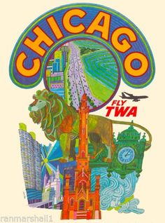 Chicago Illinois fly TWA United States Amerca Travel Advertisement Art Poster  in Collectibles, Souvenirs & Travel Memorabilia, United States, Illinois | eBay