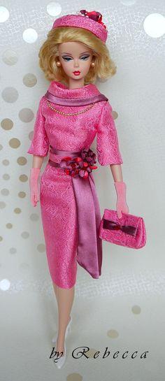 Silkstone Barbie Fashion Doll  in OOAK Fashion Royalty Vintage Pink 'After-Church Ladies' Luncheon' Ensemble