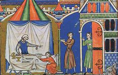 Colorful pavilion, feast spread, table from the Maciejowski / Morgan Bible (13th c. French)