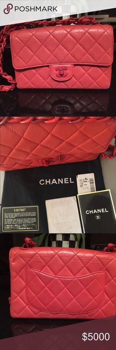 """c152be0fc5ed ICONIC CHANEL BAG/ CROSSBODY Authentic red leather Bag with long 19"""" strap  in leather"""