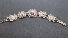 Sterling Cannetille and Porcelain Bracelet Filigree with Rose