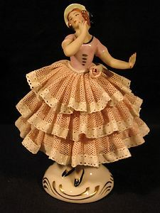 PORCELAIN FIGURINE,BALLERINA,DANCER,LACE FIGURINE,DRESDEN GERMANY