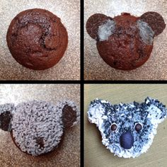 Koala cupcakes! Australian Party, Character Cupcakes, Animal Cupcakes, Birthday Treats, 7th Birthday, Cupcake Wars, Cupcake Heaven, Australia Day, Yummy Cupcakes