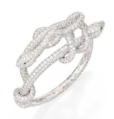 18 Karat White Gold, Diamond and Emerald Snake Bangle-Bracelet, Boucheron