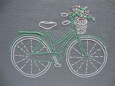 Bicycle embroidery pattern and kit  mint bike by iHeartStitchArt