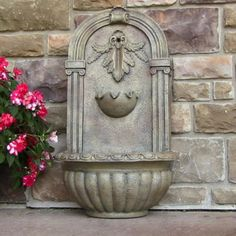 Florence Outdoor Solar On Demand Wall Water Fountain Florentine Stone Yard Decor