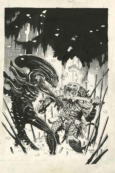 ALIENS VS. PREDATOR #0 COVER PIN-UP ( 1990, MIKE MIGNOLA ) Comic Art