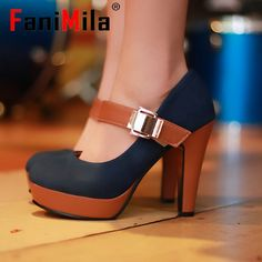 free shipping thick high heel shoes buckle women sexy fashion lady platform pumps P2583 hot sale EUR size 34-39