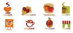 Coffee Themed Logo Design Set Free File