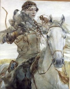 "VALIANT (Painting of a Volga-Bulgar warrior woman (""Сокол"", by artist Bulat Gilvanov, a painter from Tatarstan) Illustrations, Illustration Art, Art Graphique, Equine Art, Horse Art, Art Plastique, Larp, Fantasy Characters, Fantasy Art"