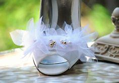 Wedding Shoe Clips. White Ivory Black Chiffon by sofisticata