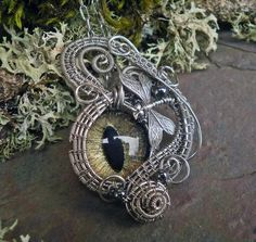 Gothic Steampunk Dragonfly Evil Cat Eye by twistedsisterarts, $59.95