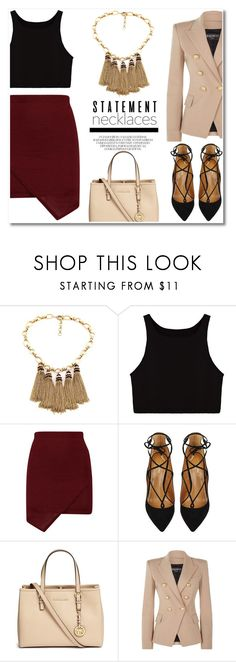 """""""STTMNT NECKLACE"""" by alissfashionicon ❤ liked on Polyvore featuring Aquazzura, Michael Kors, Balmain and statementnecklaces"""