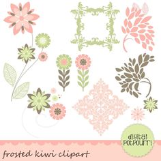 Custom clipart frosted kiwi Digital Papers - Luvly Marketplace | Premium Design Resources #flower #floral #clipart