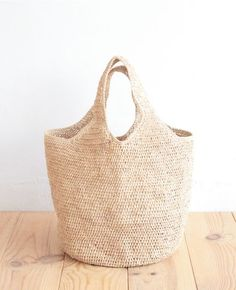 Round Bottom Raffia Crocheted Bag. Japanese Web Shop