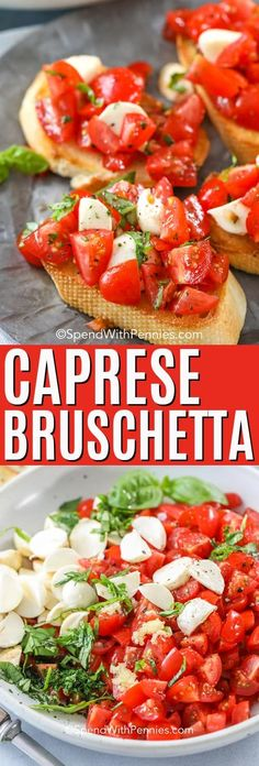 Caprese Bruschetta - Spend With Pennies- This caprese bruschetta is a fresh homemade salad recipe full of fresh tomatoes, basil, and mozzarella tossed with balsamic vinaigrette! Easy Bruschetta Recipe, Caprese Appetizer, Homemade Bruschetta, Italian Appetizers, Appetizer Recipes, Bruschetta Caprese, Vegan Appetizers, Bruschetta With Mozzarella Recipe, Party Appetizers