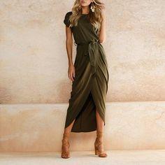 Casual Women O-neck Short Sleeve Dresses