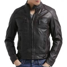 Brando Black Men/'s Biker Style Real Lambskin Grade1 Leather Fashion Jacket