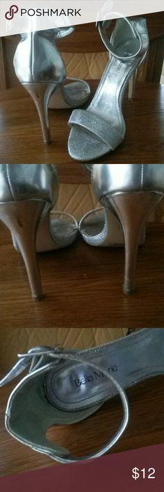Silver heels Cute silver heels 4in heel worn 2x. Cpl minor small  marks on back of heels. Sz 8. 4in heels BELLA MARIE Shoes Heels