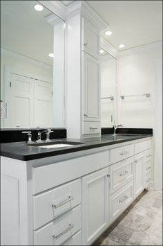 Vanity with center cabinets