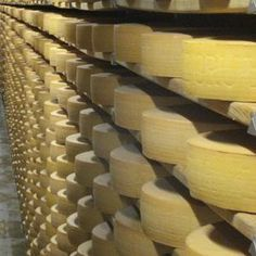 """Gruyère cheese aging room:  """"a lot of cheese"""",  https://flic.kr/p/3Lteyr"""