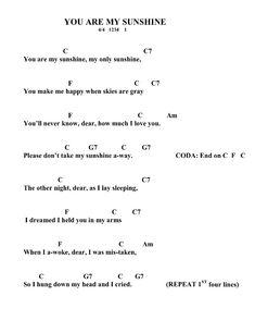 you are my sunshine ukulele chords Cool Ukulele, Guitar Chords Beginner, Easy Guitar Songs, Guitar Chords For Songs, Uke Songs, Music Chords, Guitar Sheet Music, Lyrics And Chords, Piano Songs