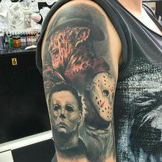 Sick Freddy, Jason, and Michael arm tattoo Leg Tattoos, Arm Tattoo, Sleeve Tattoos, Flower Tattoos, Creepy Tattoos, Hamsa Tattoo, Butterfly Tattoos, Girly Tattoos, Skull Tattoos