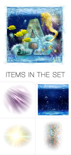 """Initial under  the sea"" by adelemarano on Polyvore featuring arte, artset, polyvoreeditorial, polyvorecontest, artexpression e artcontest"