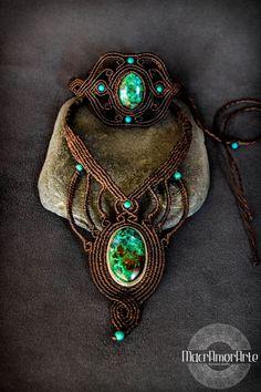 Collar de Macrame 925 plata de Crisocola. Collar de por MacrAmorArt